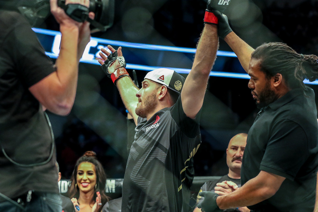 . Tim Phillis - The News-Herald Stipe Miocic after defeating Junior dos Santos in May 2017.