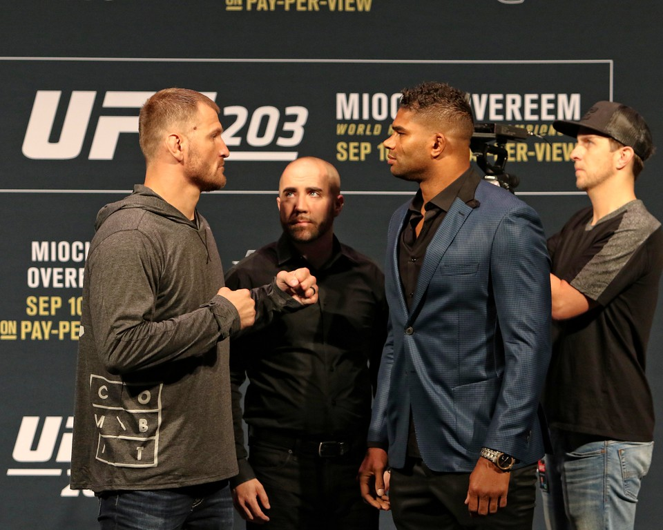 . Tim Phillis - The News-Herald Stipe Miocic and Alistair Overeem before their fight September 2016 fight at The Q.