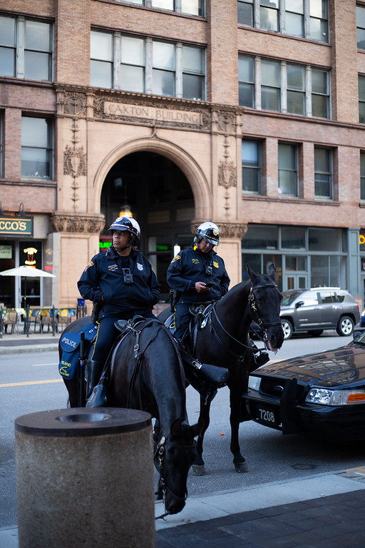 . Michael Johnson - The News-Herald Mounted Police outside of the Quicken Loans Arena on May 15, 2018.