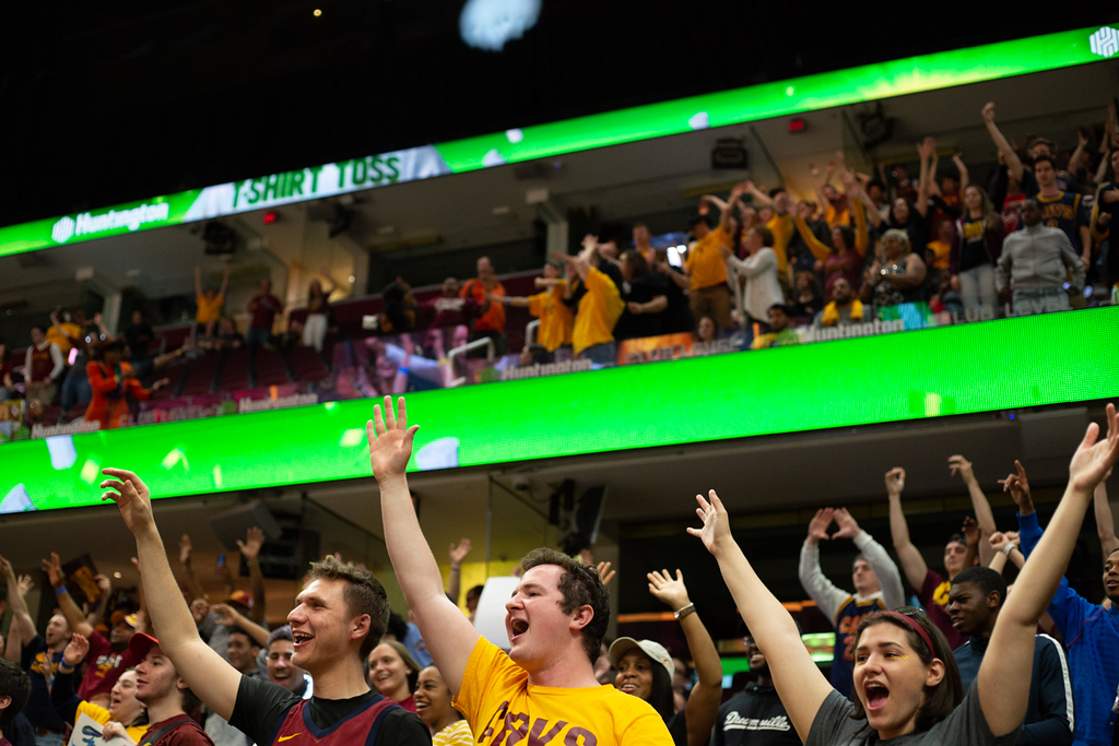 . Michael Johnson - The News-Herald Cavaliers fans cheer during the Eastern Conference Finals game 2 watch party on May 15, 2018.