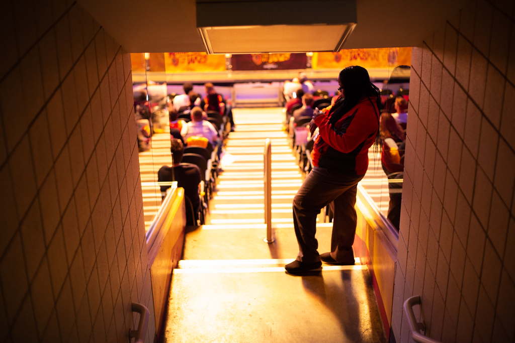 . Michael Johnson - The News-Herald A Quicken Loans Arena employee works during the Eastern Conference Finals game 2 watch party on May 15, 2018.