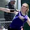 Holy Family's Alexis Gerry lets the discus fly in the 3A Girls Discus during the State Track and Field Championships at Jefferson County Stadium in Lakewood, Colorado May 20, 2011.  CAMERA/Mark Leffingwell