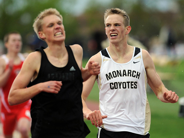 20110520_TRACK_MONARCH_WEBB.JPG Monarch's Kirk Webb finishes third in the 5A 800 meter run during the State Track and Field Championships Friday May 20, 2011 at Jefferson County Stadium. Arapahoe's Connor Winter, left, finished first with a time of 1:53.23. (Lewis Geyer/Times-Call)