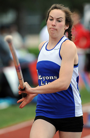 20110520_TRACK_LYONS_TSCHANZ.JPG Lyons Corbette Tschanz competes in the 2A pole vault during the State Track and Field Championships Friday May 20, 2011 at Jefferson County Stadium. (Lewis Geyer/Times-Call)