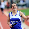 Lyons' Melissa Roberts smiles after crossing the finish line with Lyons winning the 3A Girls 4x800 during the State Track and Field Championships at Jefferson County Stadium in Lakewood, Colorado May 20, 2011.  CAMERA/Mark Leffingwell