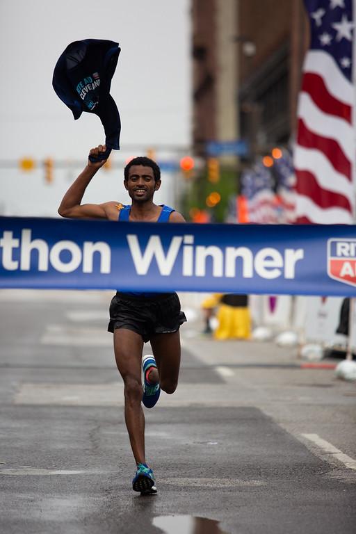 . Michael Johnson - The News-Herald Daniel Mesfun winner of the Cleveland Marathon