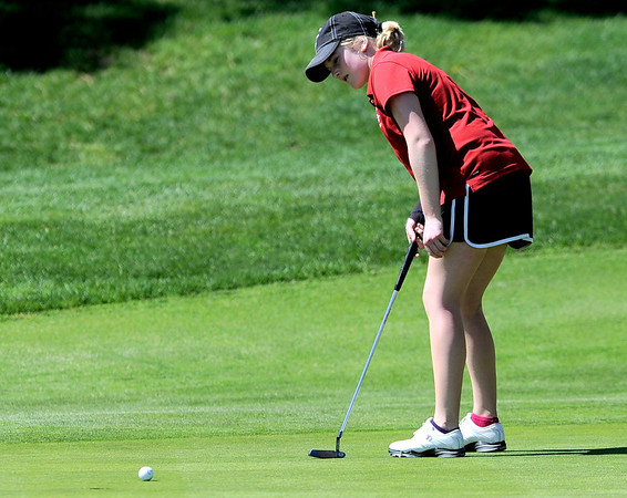 Fairview's Kelly Moran putts for par on #15 during the first round of the Girls's Golf 5A Championships at Lone Tree Golf Club and Hotel in Highlands Ranch, Colorado May 23, 2011.  CAMERA/Mark Leffingwell