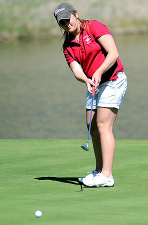 Fairview's Amy Carlson putts for par on #13 during the first round of the Girls's Golf 5A Championships at Lone Tree Golf Club and Hotel in Highlands Ranch, Colorado May 23, 2011.  CAMERA/Mark Leffingwell