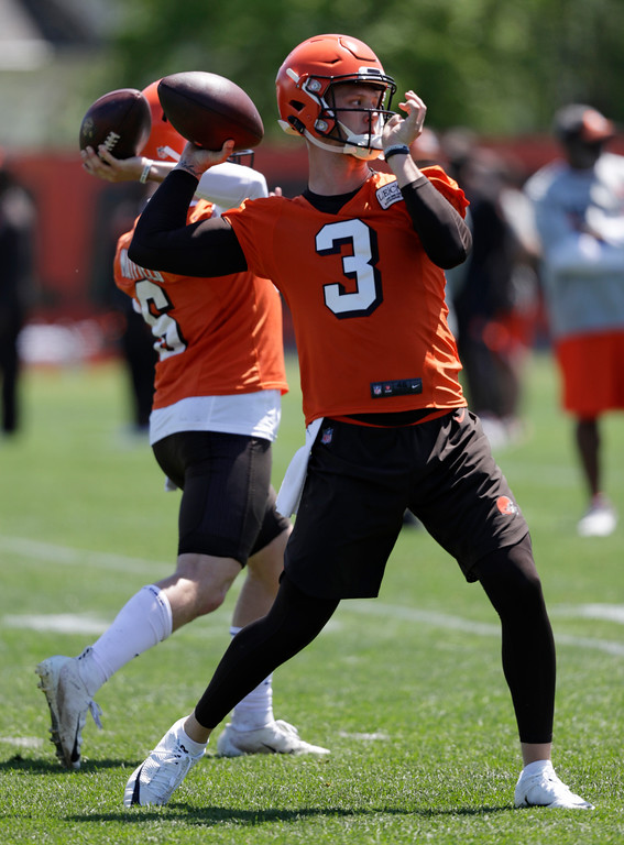 . Cleveland Browns quarterback Brogan Roback during a practice at the NFL football team\'s training camp facility, Wednesday, May 23, 2018, in Berea, Ohio. (AP Photo/Tony Dejak)