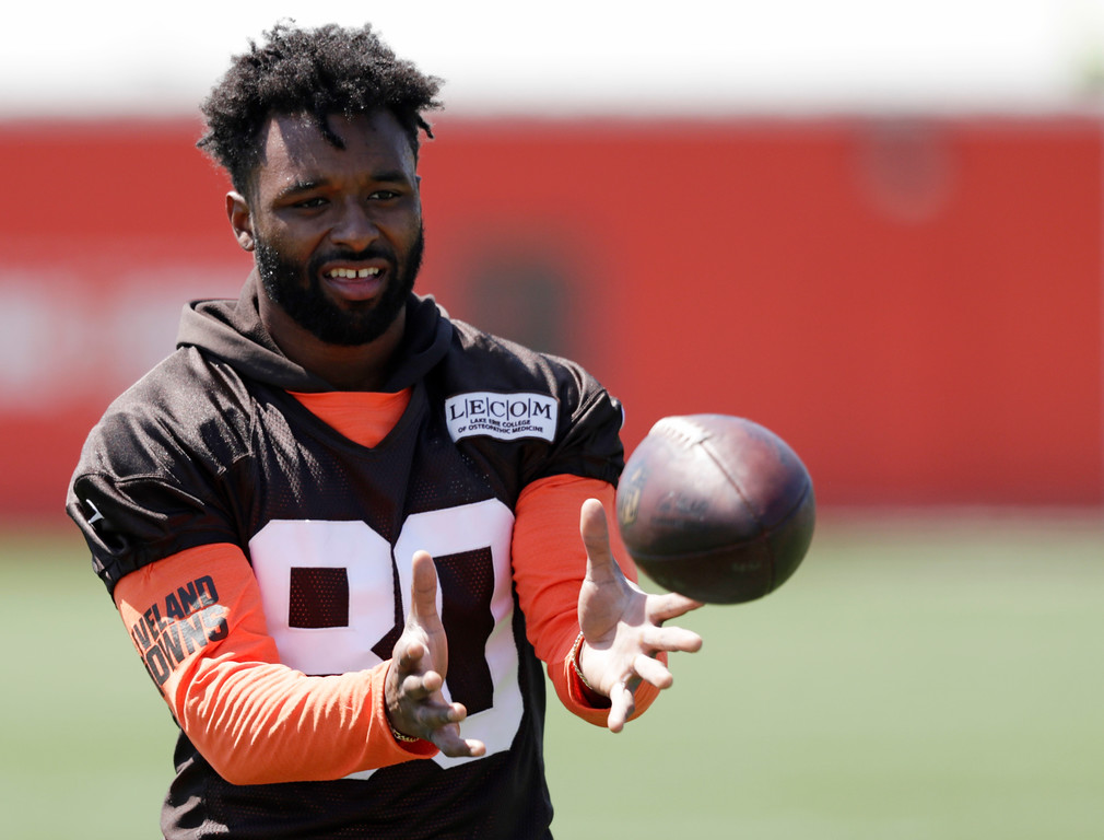 . Cleveland Browns wide receiver Jarvis Landry catches the ball during a practice at the NFL football team\'s training camp facility, Wednesday, May 23, 2018, in Berea, Ohio. (AP Photo/Tony Dejak)