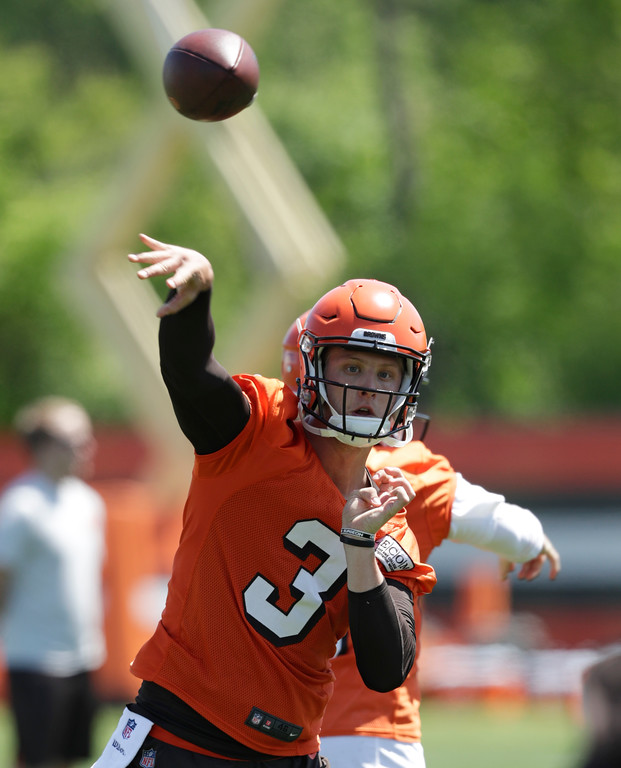 . Cleveland Browns quarterback Brogan Roback throws during a practice at the NFL football team\'s training camp facility, Wednesday, May 23, 2018, in Berea, Ohio. (AP Photo/Tony Dejak)