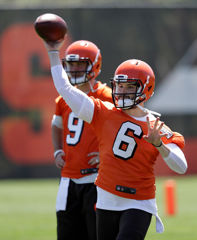 . Cleveland Browns quarterback Baker Mayfield throws during a practice at the NFL football team\'s training camp facility, Wednesday, May 23, 2018, in Berea, Ohio. (AP Photo/Tony Dejak)