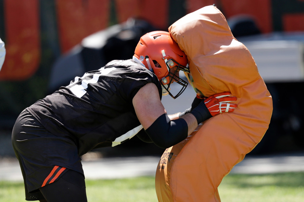 . Cleveland Browns offensive lineman Christian DiLauro runs a drill during a practice at the NFL football team\'s training camp facility, Wednesday, May 23, 2018, in Berea, Ohio. (AP Photo/Tony Dejak)