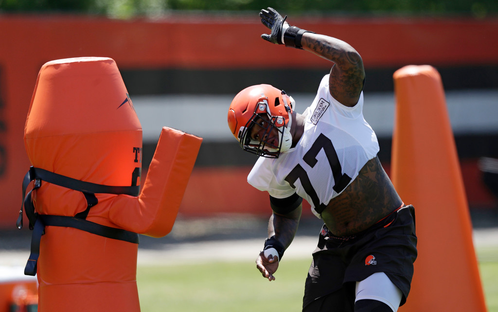 . Cleveland Browns defensive lineman Trenton Thompson runs a drill during a practice at the NFL football team\'s training camp facility, Wednesday, May 23, 2018, in Berea, Ohio. (AP Photo/Tony Dejak)