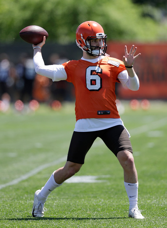 . Cleveland Browns quarterback Baker Mayfield passes during a practice at the NFL football team\'s training camp facility, Wednesday, May 23, 2018, in Berea, Ohio. (AP Photo/Tony Dejak)