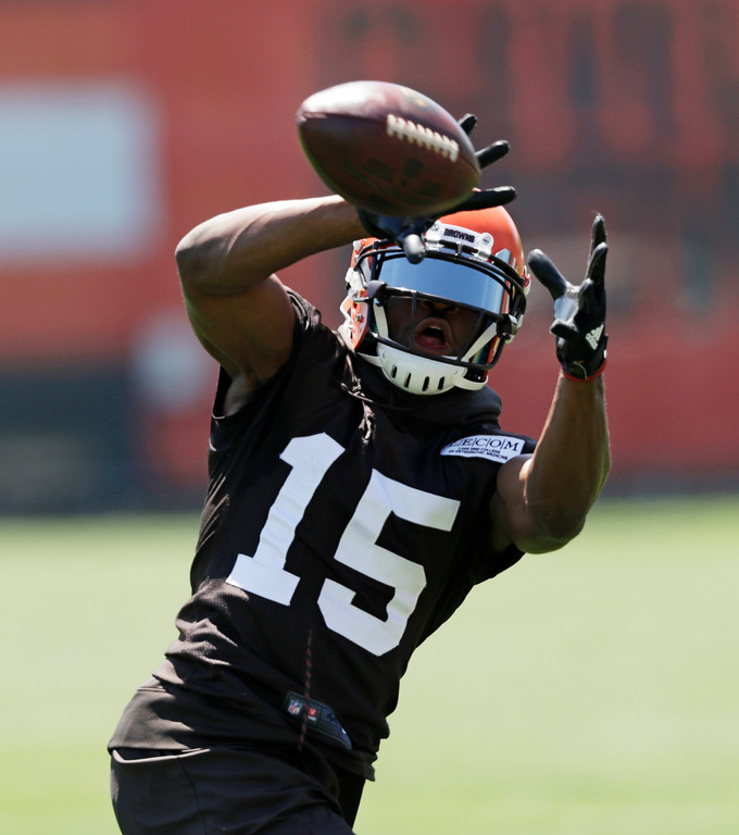 . Cleveland Browns wide receiver Ricardo Louis catches a pass during a practice at the NFL football team\'s training camp facility, Wednesday, May 23, 2018, in Berea, Ohio. (AP Photo/Tony Dejak)