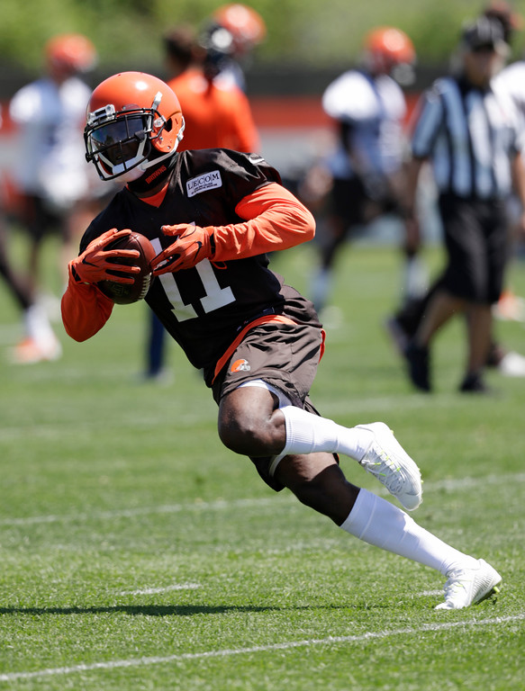 . Cleveland Browns wide receiver Antonio Callaway runs a route during a practice at the NFL football team\'s training camp facility, Wednesday, May 23, 2018, in Berea, Ohio. (AP Photo/Tony Dejak)