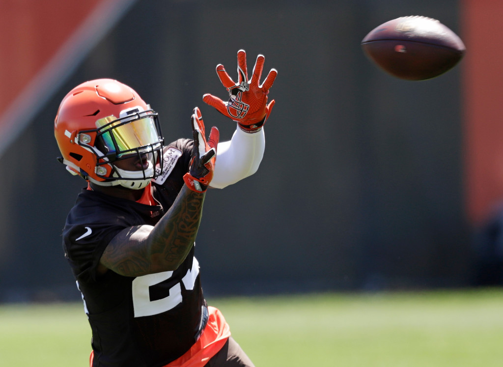 . Cleveland Browns running back Duke Johnson Jr. catches a pass during a practice at the NFL football team\'s training camp facility, Wednesday, May 23, 2018, in Berea, Ohio. (AP Photo/Tony Dejak)
