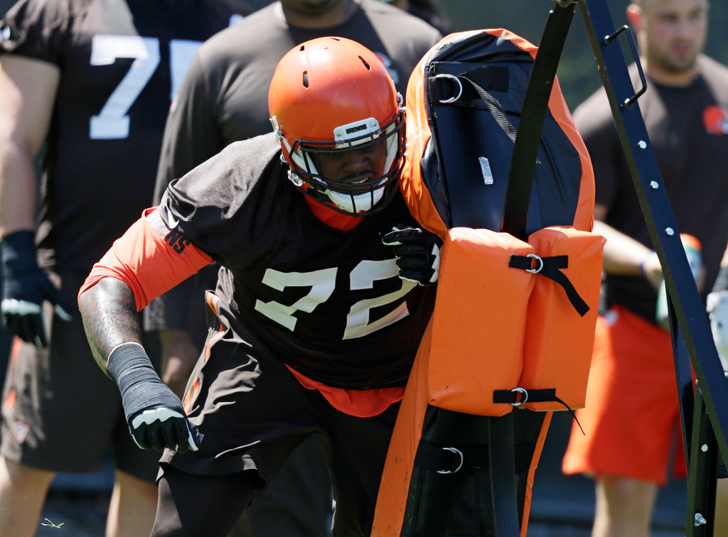 . Cleveland Browns offensive lineman Shon Coleman runs a drill during a practice at the NFL football team\'s training camp facility, Wednesday, May 23, 2018, in Berea, Ohio. (AP Photo/Tony Dejak)