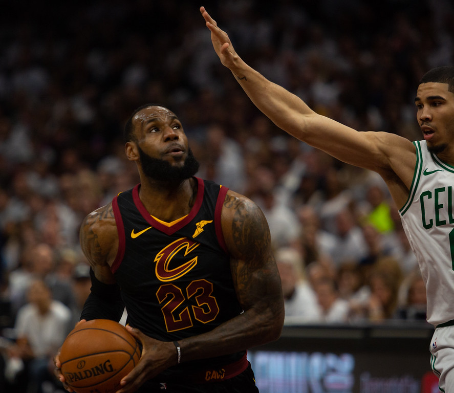 . LeBron James of the Cavaliers drives to the basket on Jayson  Tatum of the Celtic during game 6 of the Eastern Conference Finals at the Q on May 25, 2018. -Michael Johnson/ The News Herald