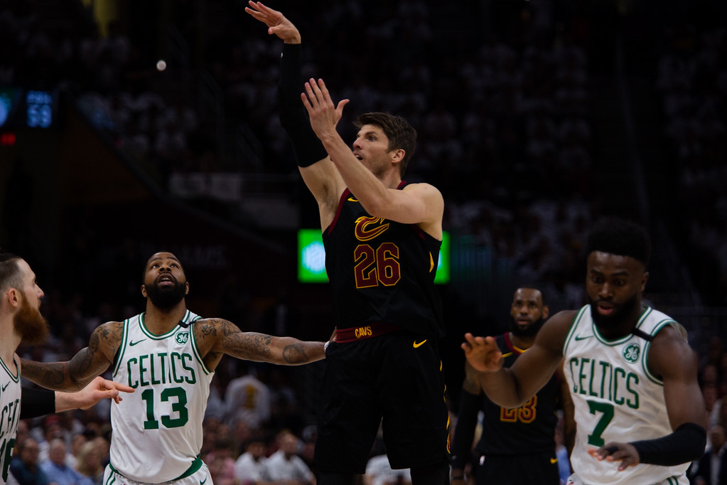 . Kyle Korver of the Cleveland Cavaliers follows through after taking a three during game 6 of the Eastern Conference Finals at the Q on May 25, 2018. -Michael Johnson/ The News Herald
