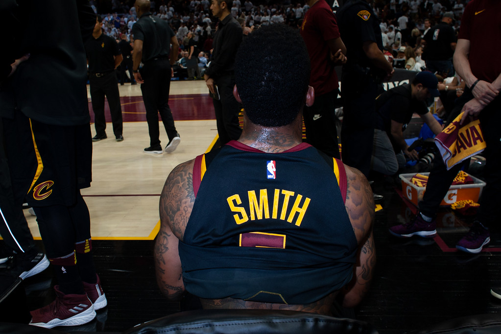 . JR Smith sits on the bench during game 6 of the Eastern Conference Finals at the Q on May 25, 2018. -Michael Johnson/ The News Herald