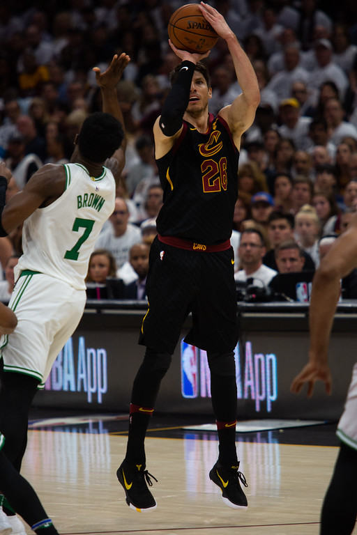 . Kyle Korver of the Cleveland Cavaliers take a three during game 6 of the Eastern Conference Finals at the Q on May 25, 2018. -Michael Johnson/ The News Herald