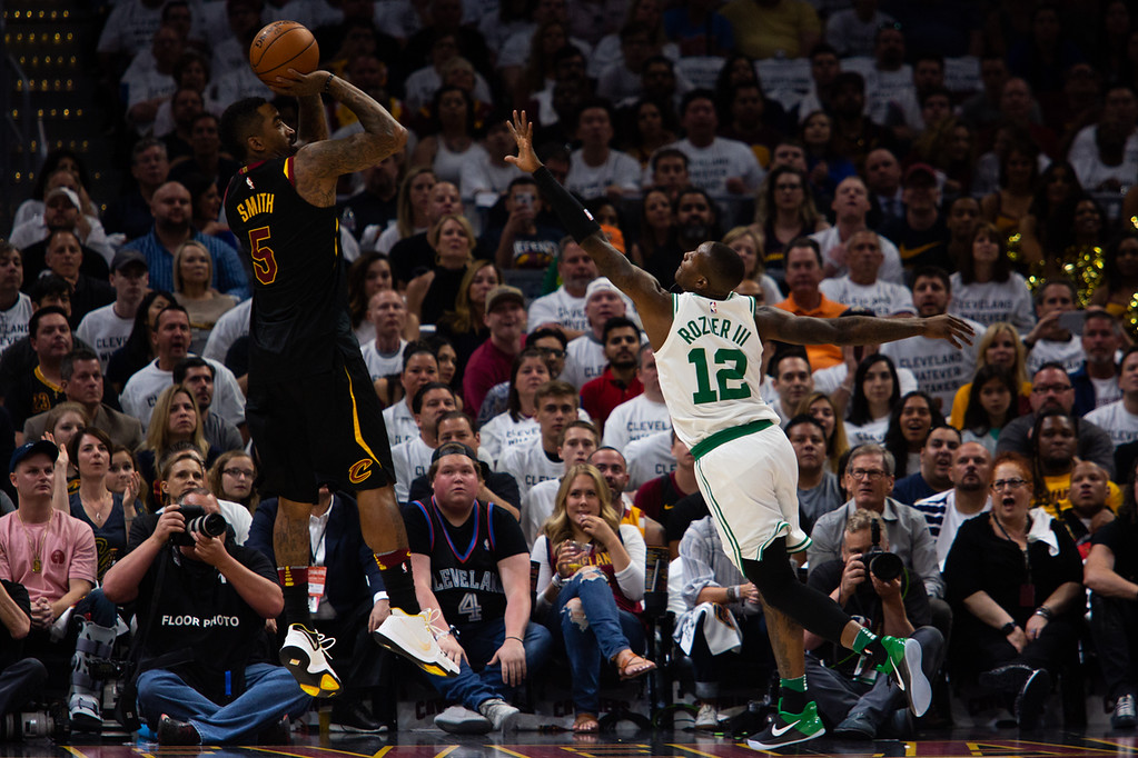 . JR Smith of the Cleveland Cavaliers takes a shot over Terry Rozier of the Celtics during game 6 of the Eastern Conference Finals at the Q on May 25, 2018. -Michael Johnson/ The News Herald