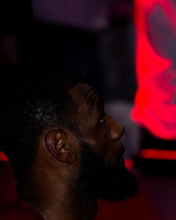 . LeBron James of the Cavaliers sits prior to the start of game 6 of the Eastern Conference Finals against the Boston Celtics at the Q on May 25, 2018. -Michael Johnson/ The News Herald