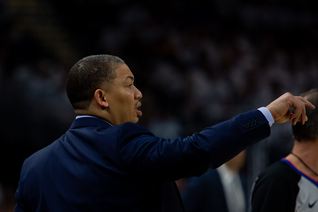 . Tyronn Lue coaches during game 6 of the Eastern Conference Finals at the Q on May 25, 2018. -Michael Johnson/ The News Herald