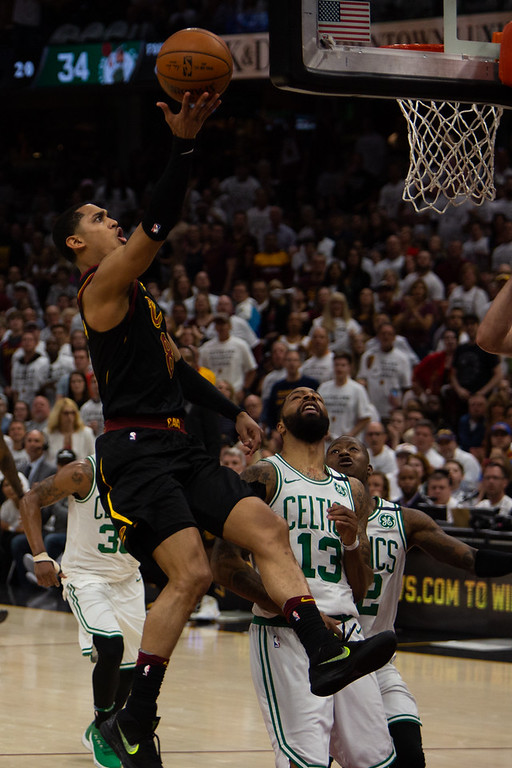 . Jordan Clarkson of the Cleveland Cavaliers goes up for a lay up during game 6 of the Eastern Conference Finals at the Q on May 25, 2018. -Michael Johnson/ The News Herald