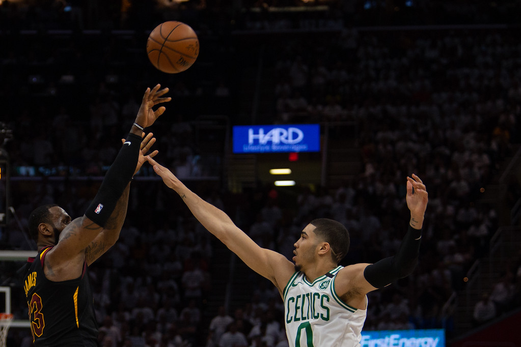 . LeBron James of the Cavaliers takes a shot during game 6 of the Eastern Conference Finals against the Boston Celtics at the Q on May 25, 2018. -Michael Johnson/ The News Herald