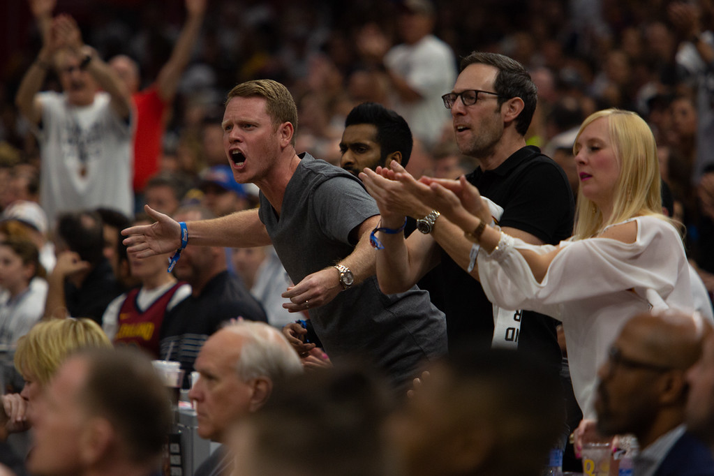 . Fans react during game 6 of the Eastern Conference Finals at the Q on May 25, 2018. -Michael Johnson/ The News Herald