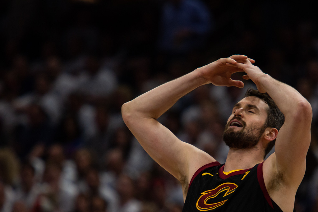 . Kevin Love of the Cleveland Cavaliers reacts to a call during game 6 of the Eastern Conference Finals at the Q on May 25, 2018. -Michael Johnson/ The News Herald