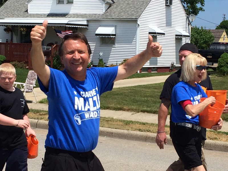 Mark Podolski - The News-Herald<br /> Willowick city councilman Charlie Malta gives thumbs up June 5.