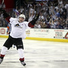 Michael Johnson - The News-Herald<br /> Zach Werenski of the Lake Erie Monsters celebrates after his team scored a game winning goal in overtime to defeat the Hershey Bears 3-2 during game 3 of the Calder Cup Finals on June 6, 2016.