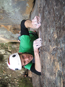 James flashing the thin Itchy Fingers(24), Black Ians Rocks, Grampians