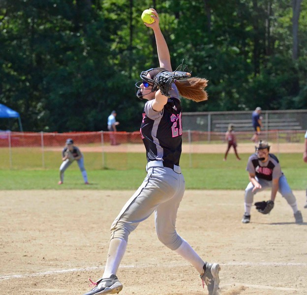 Paul DiCicco - The News-Herald<br /> An Explosive (14u)pitcher reaches high overhead on her windup during their match with the Willoughby Starzz at t;he Willoughby Starzz Invitational.  They battled to a 7-7 tie.