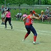 Paul DiCicco - The News-Herald<br /> Strike Force pitcher, Lauren Konkol, fields her position and throws out a bunting Explosive batter.