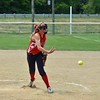 Paul DiCicco - The News-Herald<br /> Strike Force releiver, Lauren Konkol, releases a pitch after relieving the starter early in the game.  Strike Force went on to lose a close one with Explosive, 8-7.