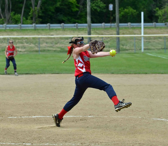 Paul DiCicco - The News-Herald<br /> Strike Force (14u) pitcher, Kendall Stull of Erie, winds up to deliver a pitch in the first inning against the Explosive of Strongsville.  Explosive went on to defeat Ohio Power 8-7.