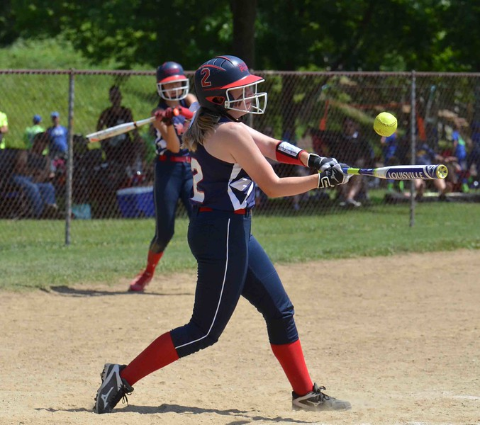 Paul DiCicco - The News-Herald<br /> Ohio Power's Megan Stafford, pops out to third base in the third inning against the SPC Hot Sox.  The Hot Sox, out of Mentor, went on to win 16-2.
