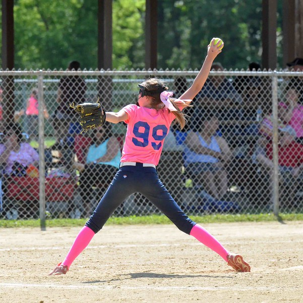 Paul DiCicco - The News-Herald<br /> Willoughby Starzz (14u Lamos) pitcher, CC Hamilton of Eastlake, winds up against the Explosive of Strongsville.  The game was played to a 7-7 tie.