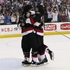 "Michael Johnson - The News-Herald<br />  The Lake Erie Monster ""Mullet Brothers"" celebrate after the Monsters defeated the Hershey Bears 1-0 in overtime to win the Calder Cup at the Quicken Loans Arena on June 11, 2016."