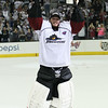 Michael Johnson - The News-Herald<br /> Lake Erie Monsters goalie, Anton Forsberg, hoists the Clader Cup after defeating the Hershey bears 4 games to none in The Calder Cup Finals. The Monsters defeated the Bears 1-0 in overtime at the Quicken Loans Arena on June 11, 2016.