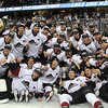 Michael Johnson - The News-Herald<br /> The Lake Erie Monsters celebrate defeating the Hershey Bears in the Calder Cup finals in a sweep June 11 at  Quicken Loans Arena.