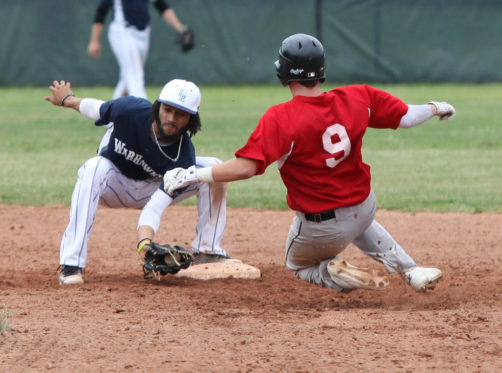 . Randy Meyers - The Morning Journal Lake Erie\'s Antonio Bennett (formerly from Clearview ) tags out Turner Mudrock of the Ironmen at second base during the first game on Thursday