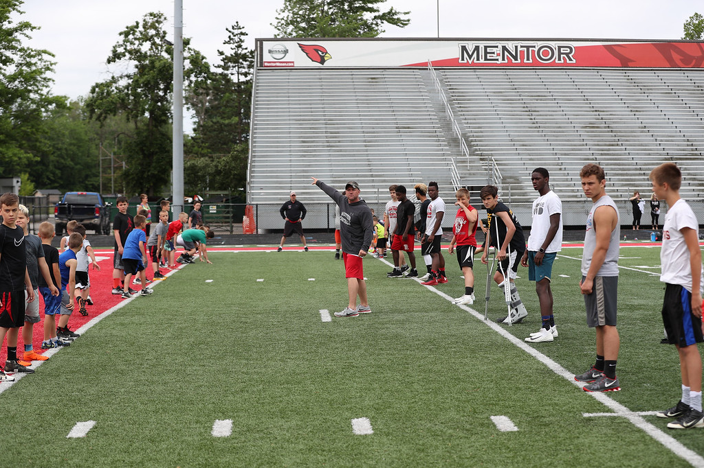. Tim Phillis - The News-Herald Day 1 of the Mitchell Trubisky Mentor Youth Football Camp on June 11 at Jerome T. Osborne Stadium in Mentor.