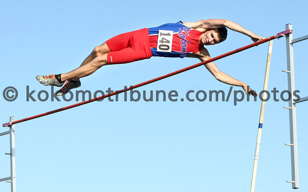 5-24-12<br /> Track Regional held at KHS<br /> Waylon Coulter clearing the pole vault jump.<br /> KT photo | Tim Bath