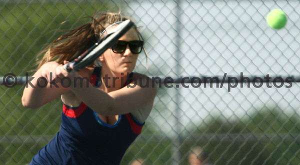 5-16-12<br /> Tennis Sectionals EHS vs Taylor, KHS vs Tipton<br /> KHS's Allison Wray playing # 2 singles.<br /> KT photo | Tim Bath